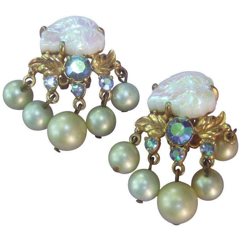 Schiaparelli Dangling Pearl Aurora Borealis Earrings c 1950s For Sale
