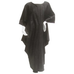 Avant Garde Minimal Japanese Raw Silk Black Dress by Mizono
