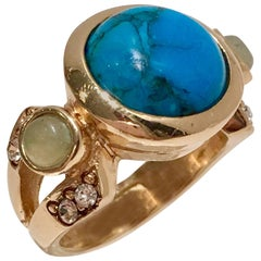Judith Leiber Turquoise Aventurine & Gold Plate Cocktail Ring