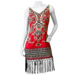 1990s Dashiki Printed Fringe Dress