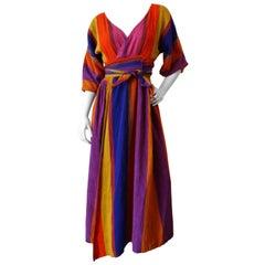 1970s Multicolored Striped Rikma Wrap Dress
