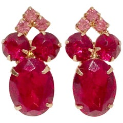 60'S Gold & Ruby Swarovski Crystal Earrings
