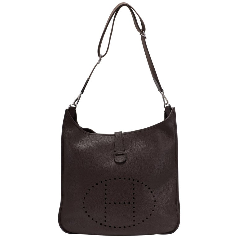 5a6a75337ab5 Hermes Maxi Evelyne Chocolate Brown Bag For Sale at 1stdibs