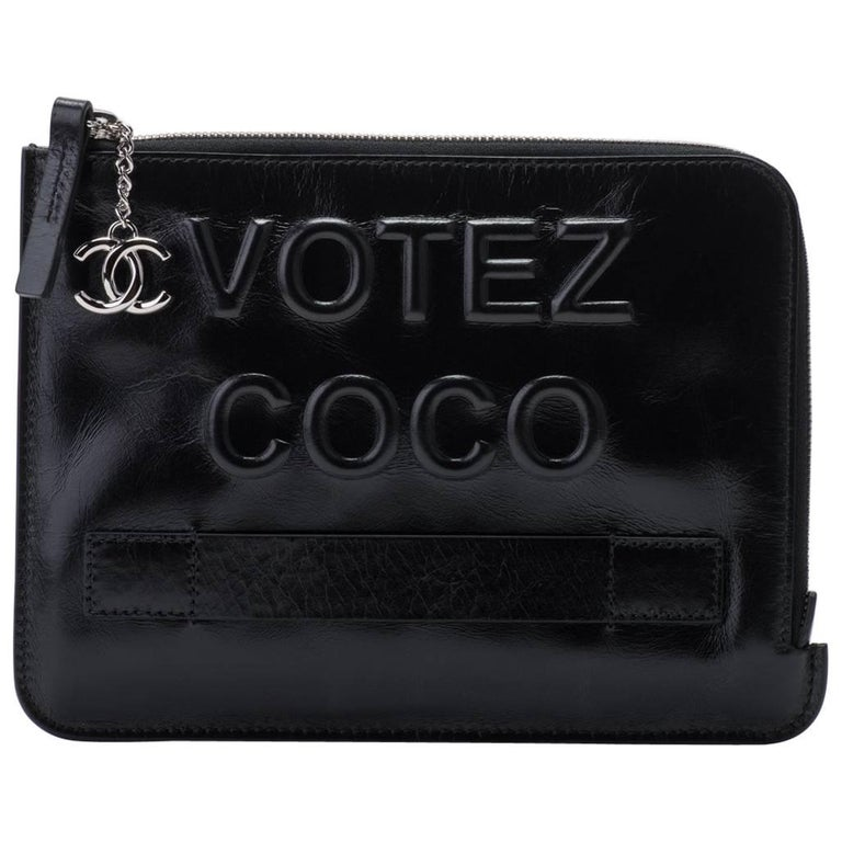 fea3f1d474aef7 New in Box Chanel Votez Coco Black Clutch Bag For Sale at 1stdibs