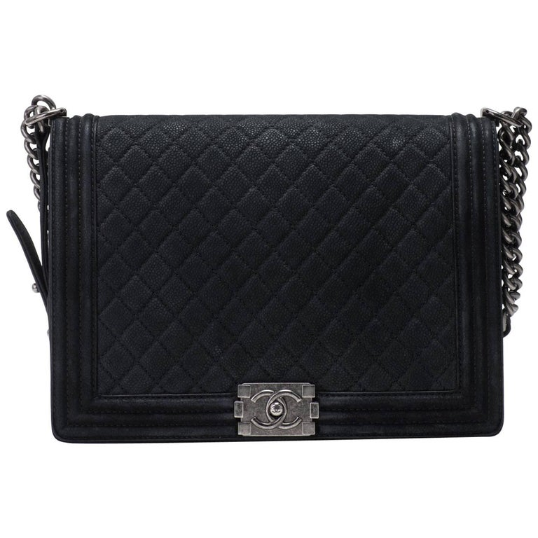 New in Box Chanel Matte Caviar Jumbo Boy Bag For Sale
