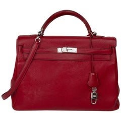 Hemés Kelly Rouge Garance Leather Excellent Conditions