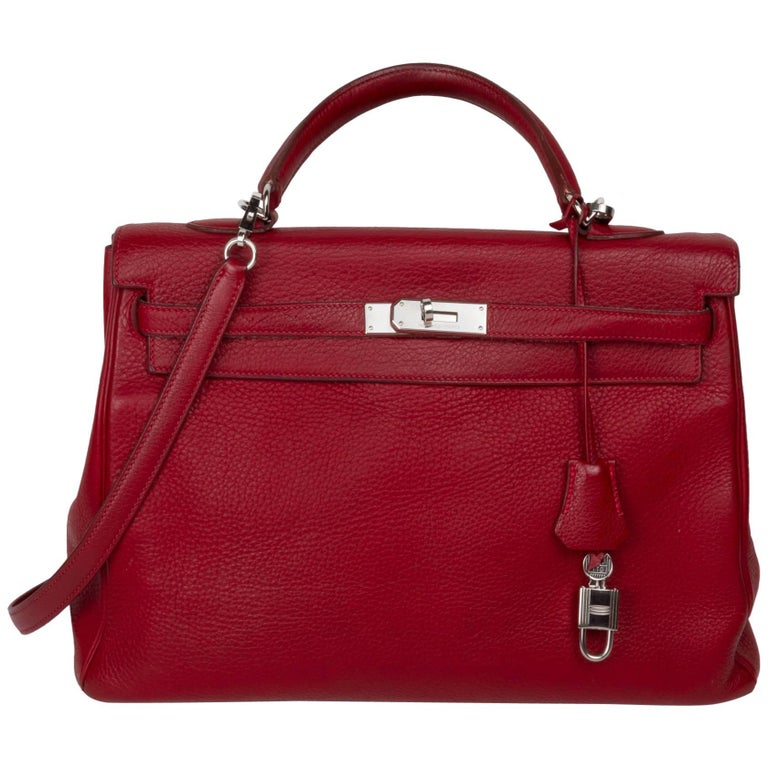 Hermés Kelly Rouge Garance Leather Excellent Conditions