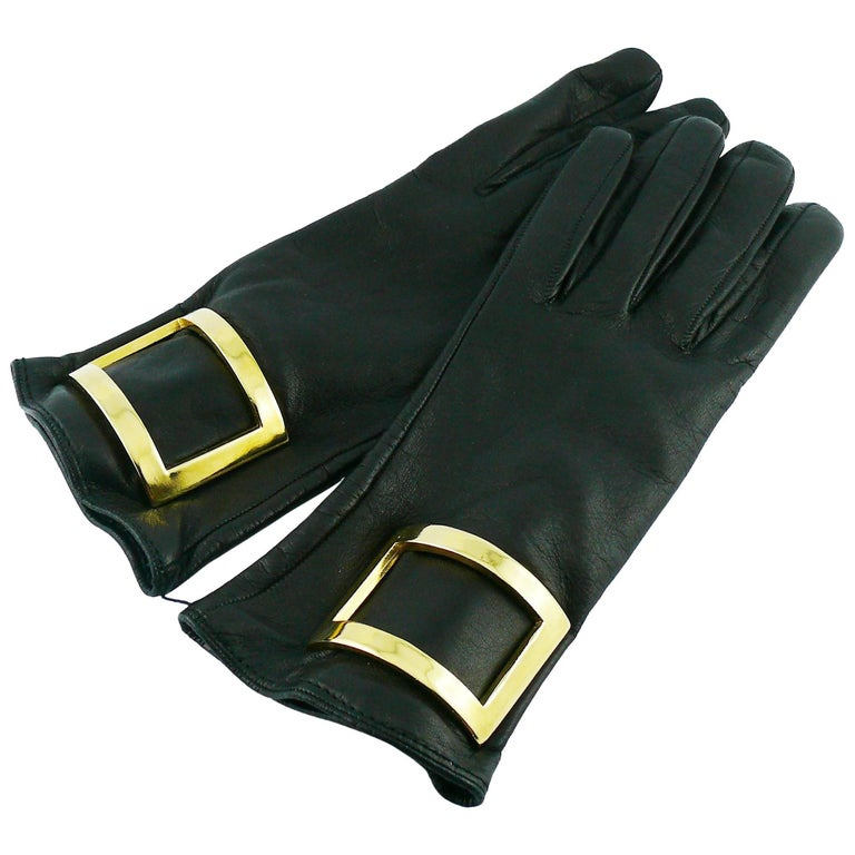 Gianfranco Ferre Vintage Black Leather and Gold Buckle Gloves Size S
