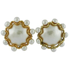 Chanel Vintage Massive Pearl Clip-On Earrings