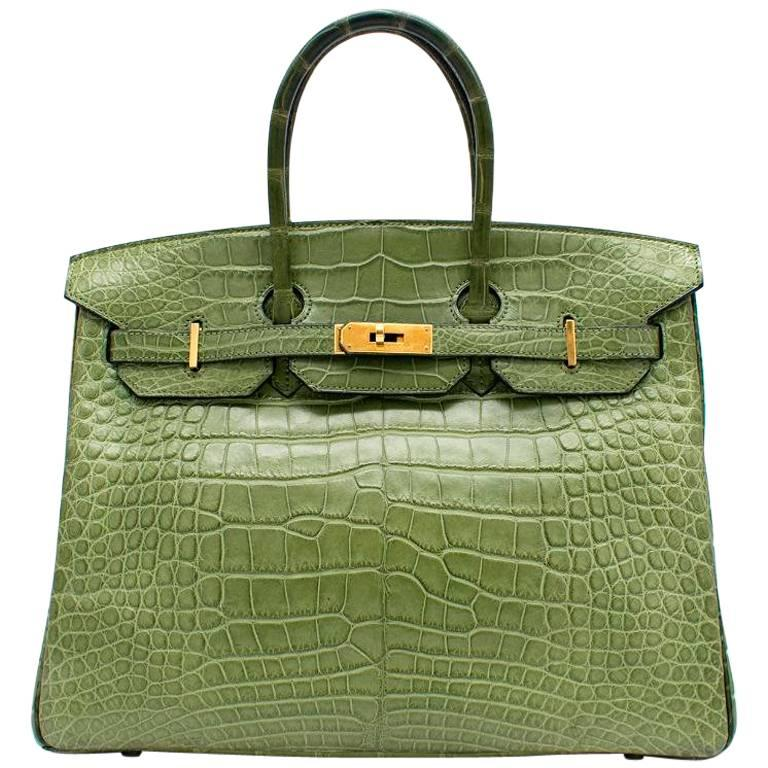 Hermes 35cm Vert Anis Nilo Crocodile Birkin For Sale
