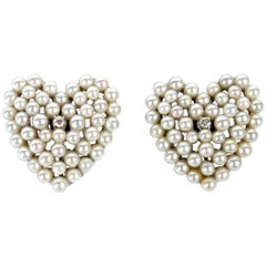 Pearl and Diamond Heart Shaped Earrings
