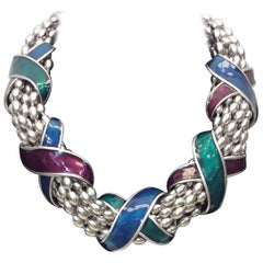 Yves Saint Laurent Multicolor Cross Design Silver Beaded Strand Necklace