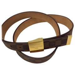Louis Vuitton Brown Damier Belt with Gold Hardware