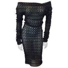 Missoni Black Metallic Lace Knit Stretch Dress