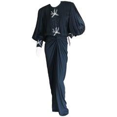 Galanos Martha Park Avenue Black Silk Jewel Embellished Evening Dress New / Tags