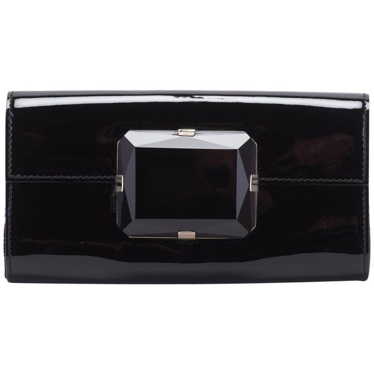New Gucci Black Patent Jewel Clutch