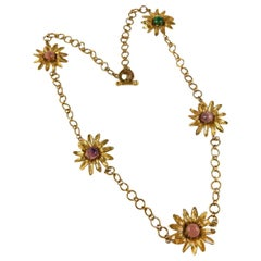 Vintage Bronze necklace with semiprecious stones