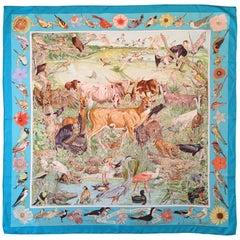 Hermes by Kermit Oliver Caesar Kleberg Wildlife Conservation Silk Scarf.