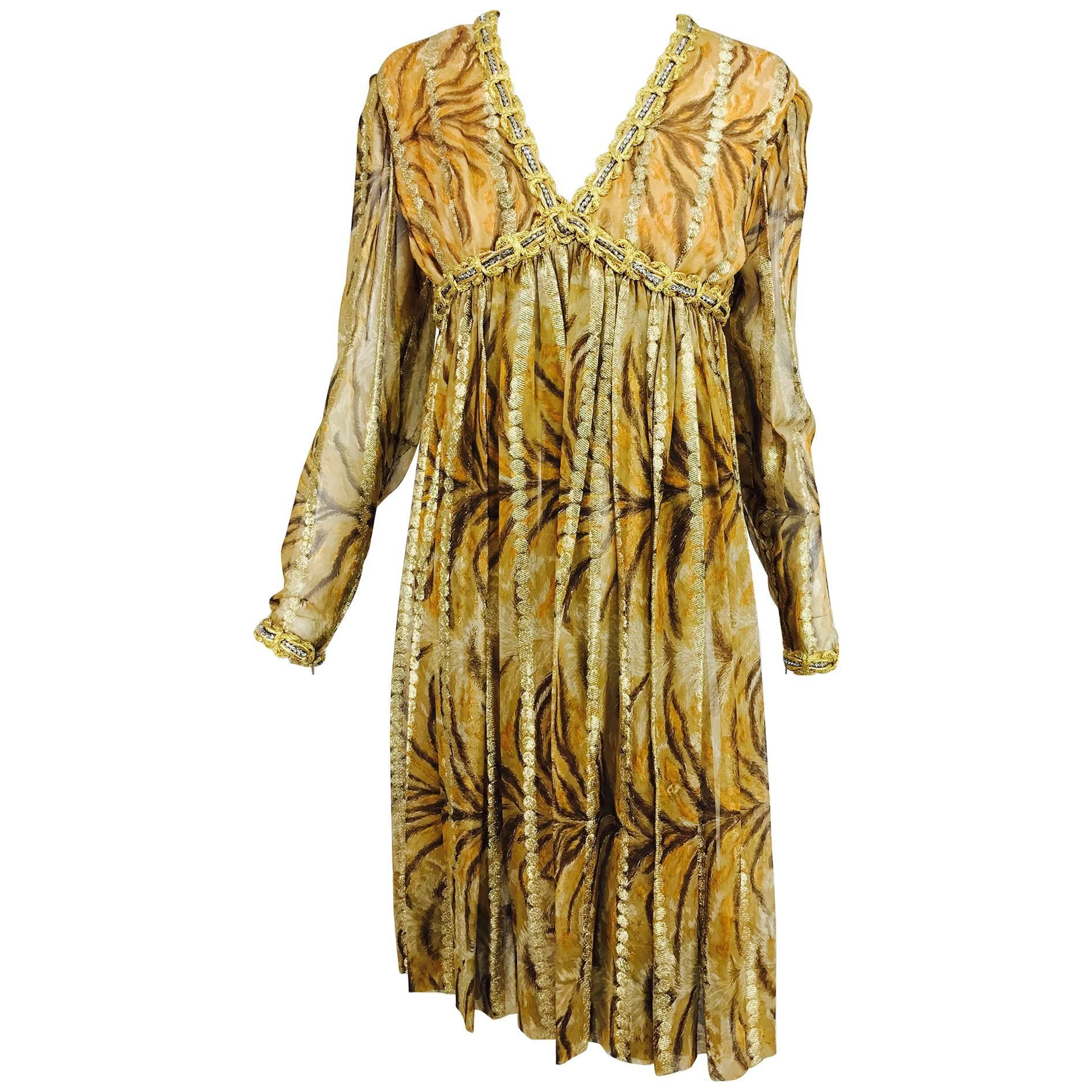 Vintage Bill Blass golden silk chiffon metallic tiger stripe cocktail dress 1970
