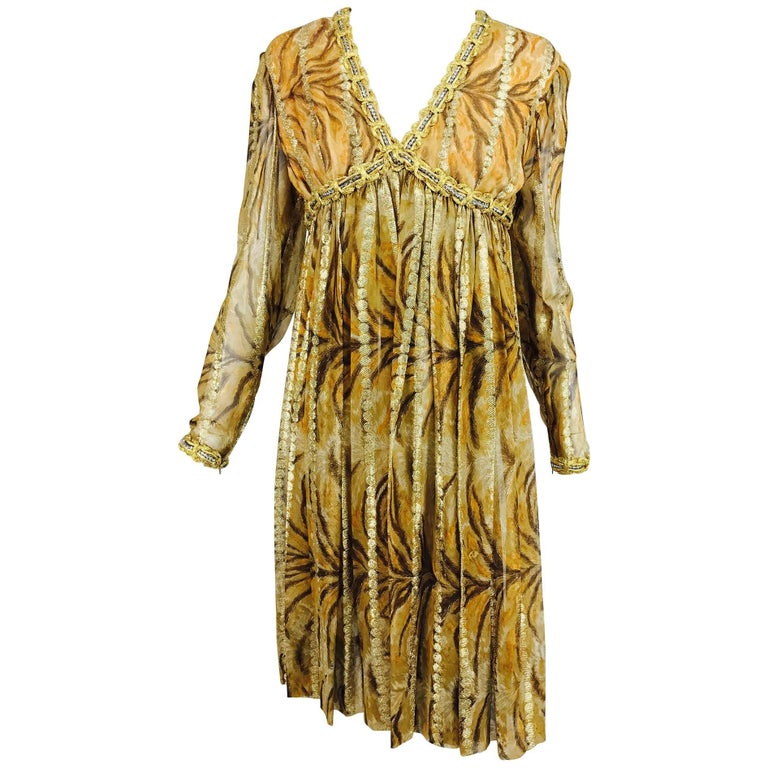 Vintage Bill Blass golden silk chiffon metallic tiger stripe cocktail dress 1970 1