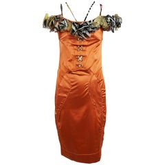 Roberto Cavalli russet stretch satin ruffle shoulder dress