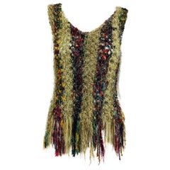 Vintage art to wear silk woven fringe top