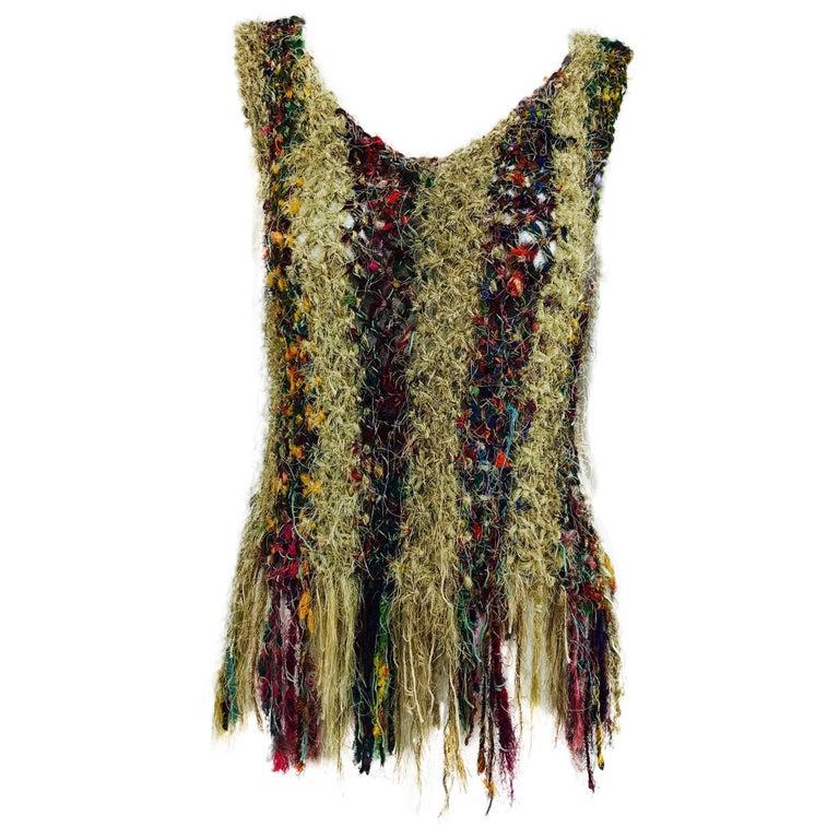 Vintage art to wear silk woven fringe top  1