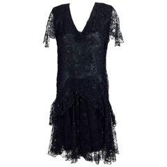 Vintage Holly Harp black lace cape back dress 1980s