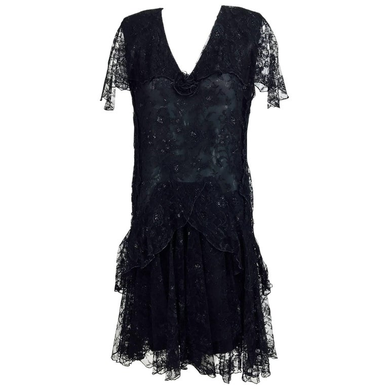 Vintage Holly Harp black lace cape back dress 1980s 1
