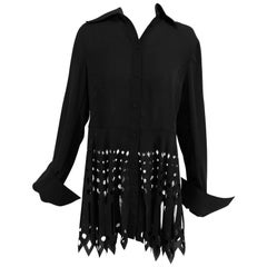 Gianfranco Ferre black crepe laser cut long sleeve button front top