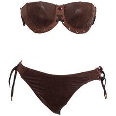 John Galliano for Christian Dior Brown Faux Leather Bikini