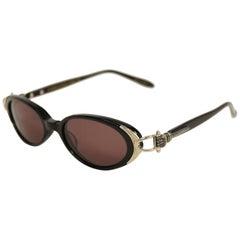 "1990s Kieselstein Cord ""Yankee"" Oval Sunglasses w/ Mano Figa Fist Detail"