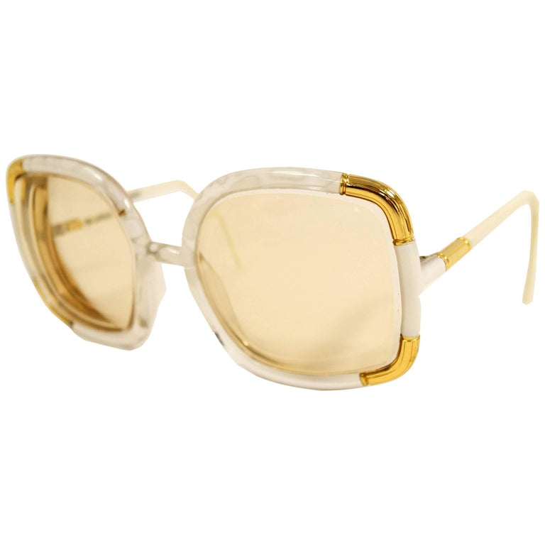 1970s Ted Lapidus Paris Ivory and Gold Framed Sunglasses
