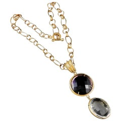 bronze and Murano glass double pendant with chain