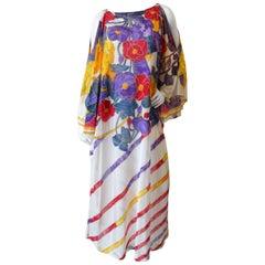 1970s Gottex Floral Sheer Caftan Maxi Dress