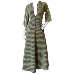 1970s Rikma Zip-Up Striped Dress