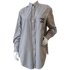 Rare 1990s Chanel Striped Button Up Dress Shirt