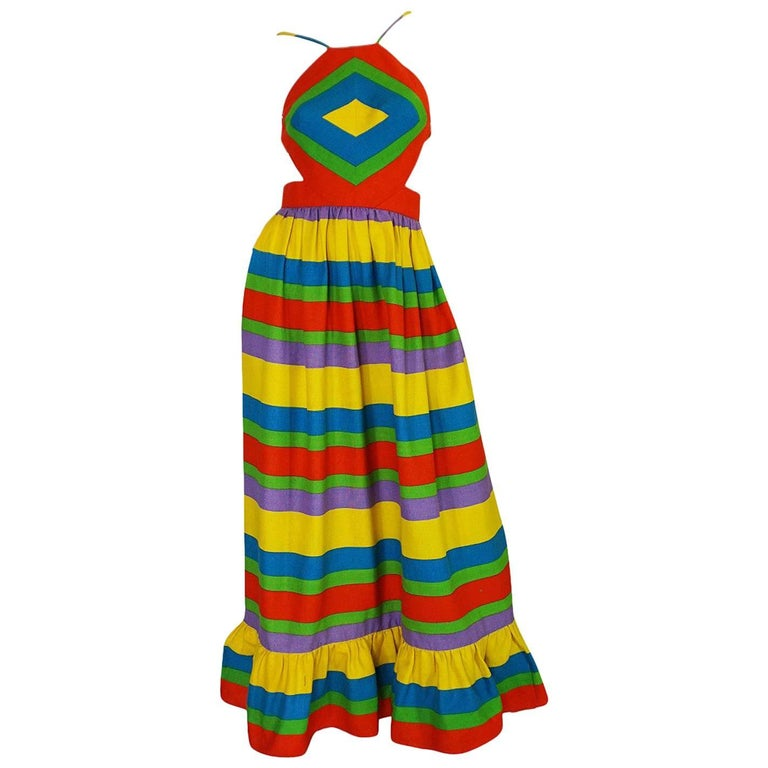 1970s Oscar de la Renta Backless Rainbow Striped Halter Dress 1