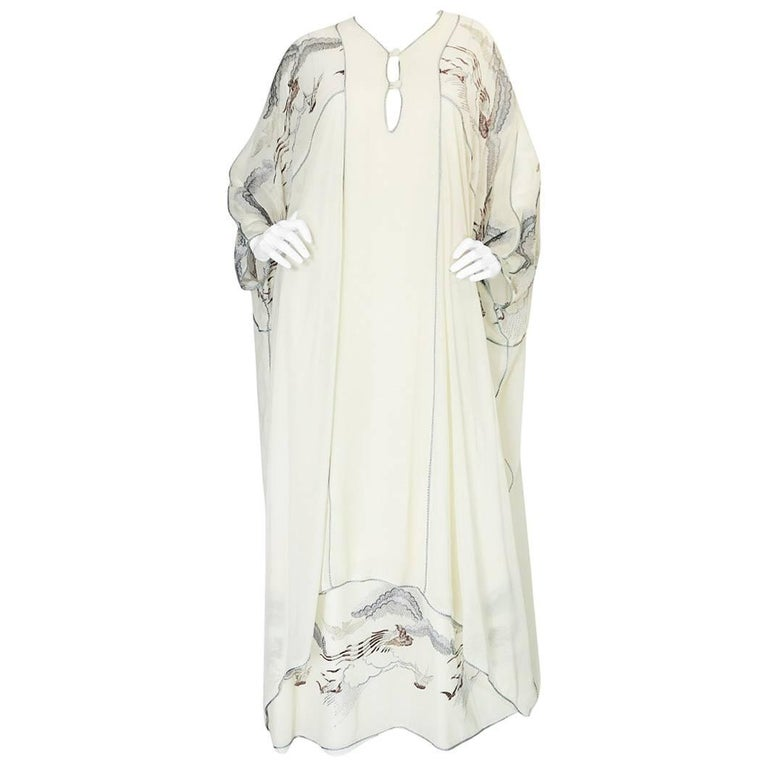 1970s Janice Wainwright Cream Embroidered Caftan Dress
