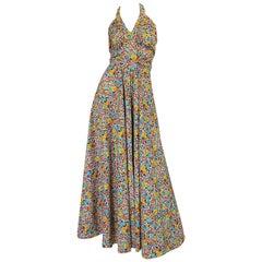 Rare 1970s Annacat Floral Print Cotton Backless Halter Dress