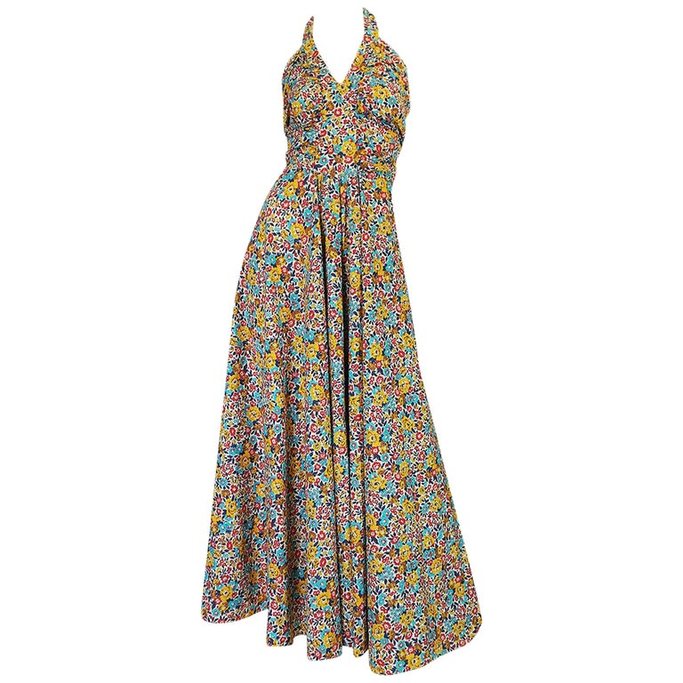 Rare 1970s Annacat Floral Print Cotton Backless Halter Dress