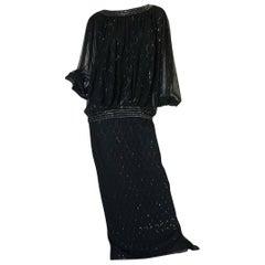 1980s Wayne Clark Backless Silver Glitter Trained Chiffon Dress