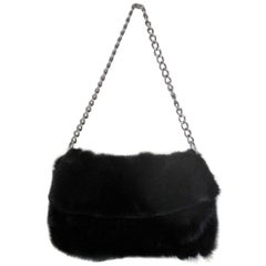 black mink fur bag