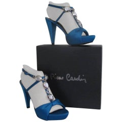 Pierre Cardin blue platform heels