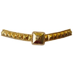 Sexy 1970s Chanel Gold Lion's Head Stud Belt
