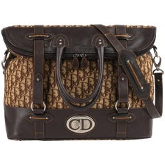 CHRISTIAN DIOR Brown Monogram Canvas & Leather Weekender Travel Bag Luggage Tote