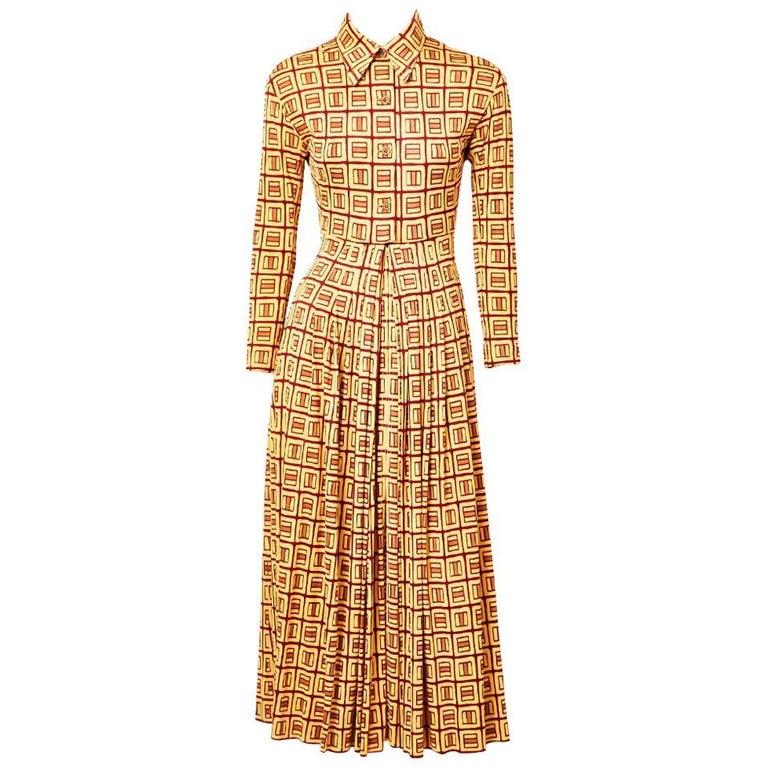 Galanos Geometric Patterned Jersey Shirt Dress