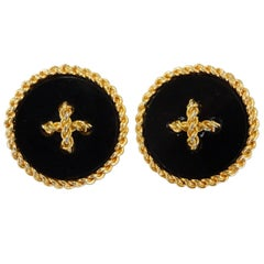 1980s Chanel Button Clip On Earrings