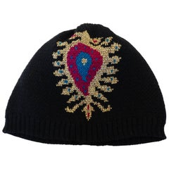 Rare 1970s Yves Saint Laurent Knitted Peacock Beanie