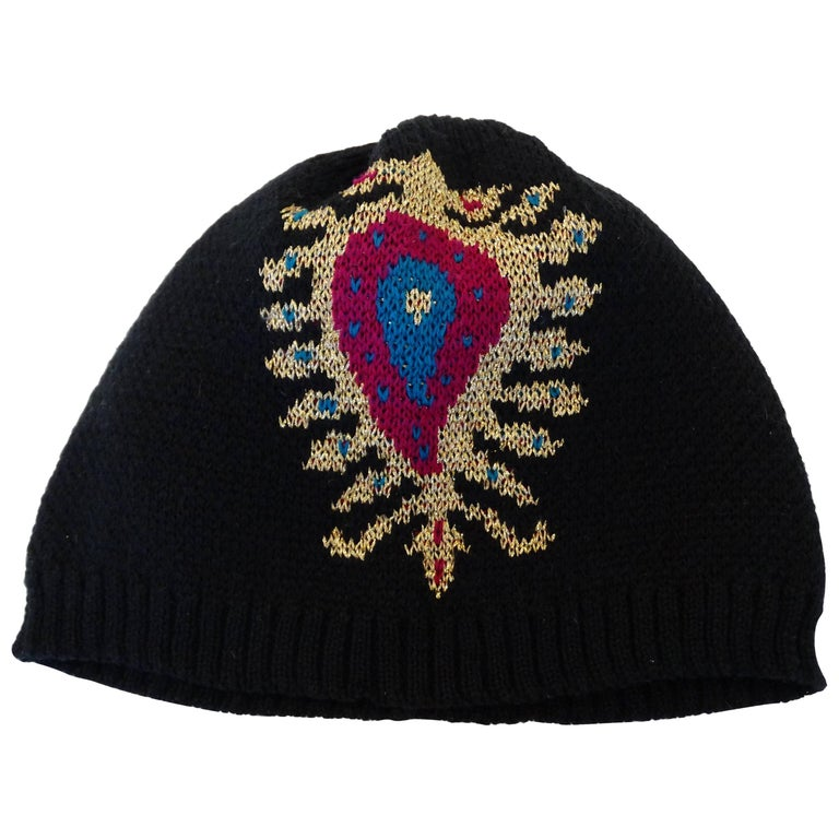 050b311e7388e Rare 1970s Yves Saint Laurent Knitted Peacock Beanie For Sale at 1stdibs